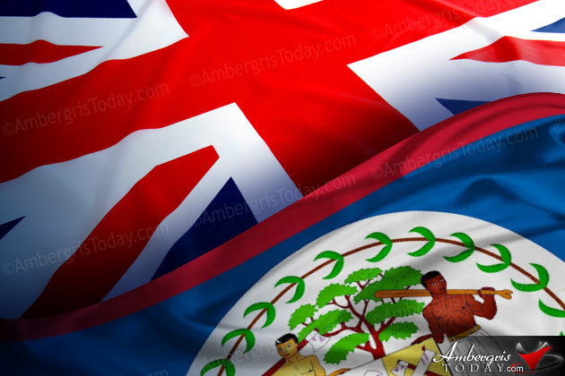 British, Union Jack Flag along with the Belize Flag