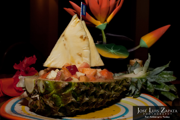 Pineapples Restaurant at Ramon's Village  -Pineapple Fruit Boat Dessert
