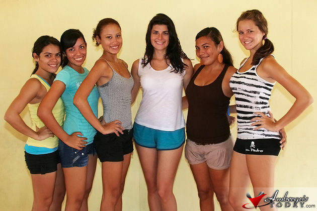 Miss Costa Maya 2011 - Valentina Cervera Avila trains Miss San Pedro Contestants in modelling.