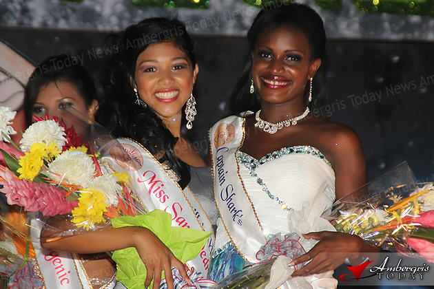 Miss San Pedro 2013 Naiely Puc and First Runner Up Adriana Haylock at the Miss San Pedro Pageant