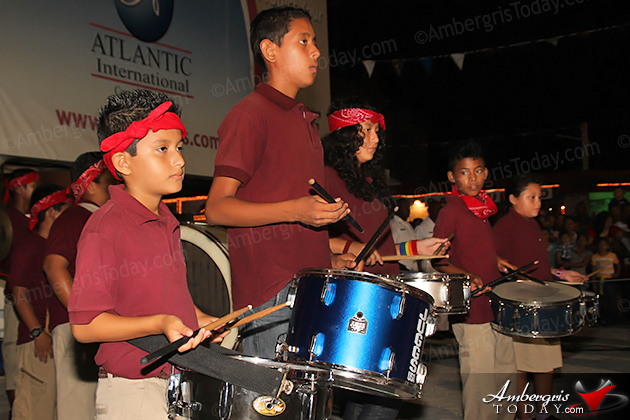 Belize's 31st Independence -Isla Bonita Elementary School's Marching Band at the September Celebrations Block Party and Firework Display